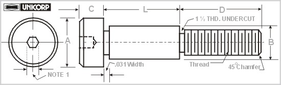 UNICORP SCB312-16 Hex Socket Shoulder Screw- 3//16 Shoulder Dia 3//8 Shoulder Lg 303 Stainless Qty-5 5//16 Head Dia 8-32 Thread 5//32 Head Ht